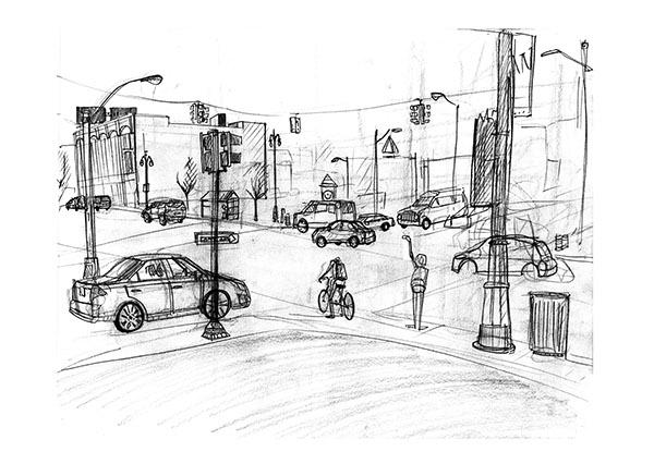 Detroit Intersection sketches on CCS Portfolios