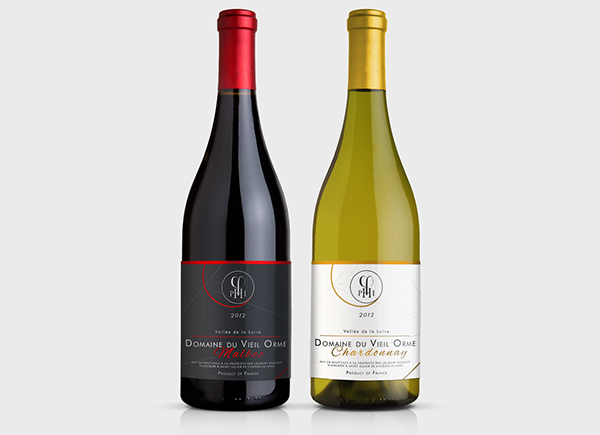 wine label collection on