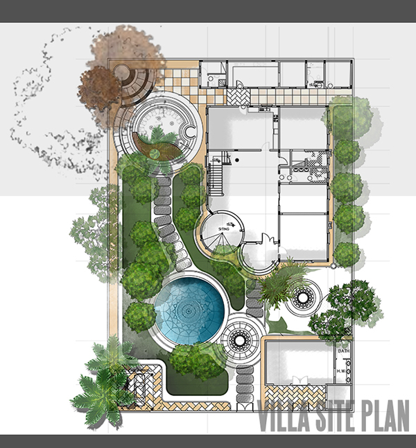 villa site plan design behance