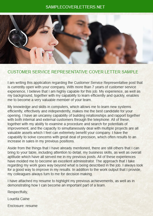 Customer Service Representative Cover Letter Sample on Pantone Canvas Gallery
