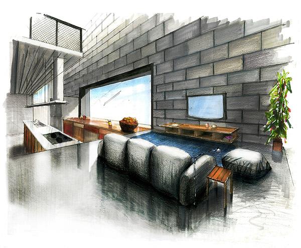 Residential Perspective Rendering Hand Rendering on Behance