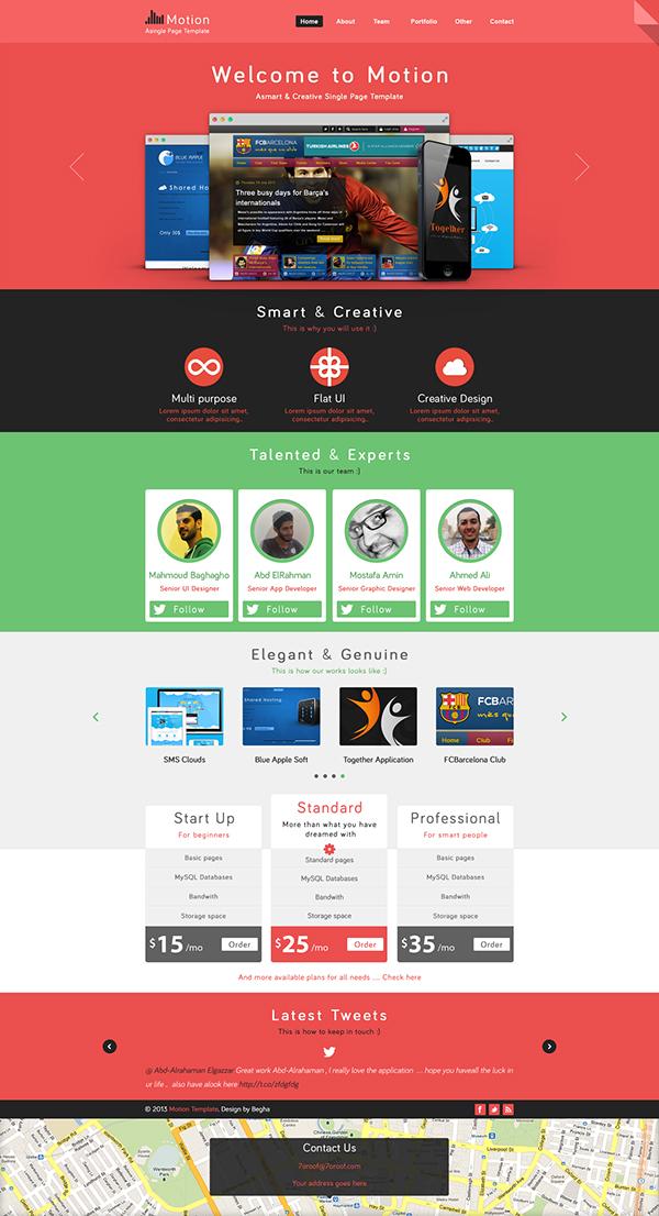 single page web templates