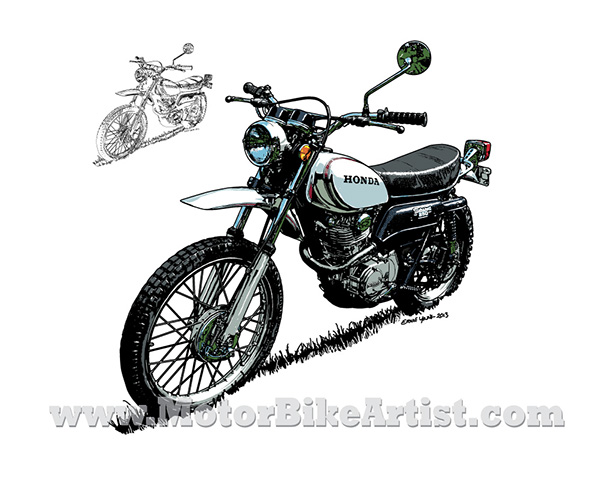 HONDA XL250 vintage motorcycle vector art drawing on Behance