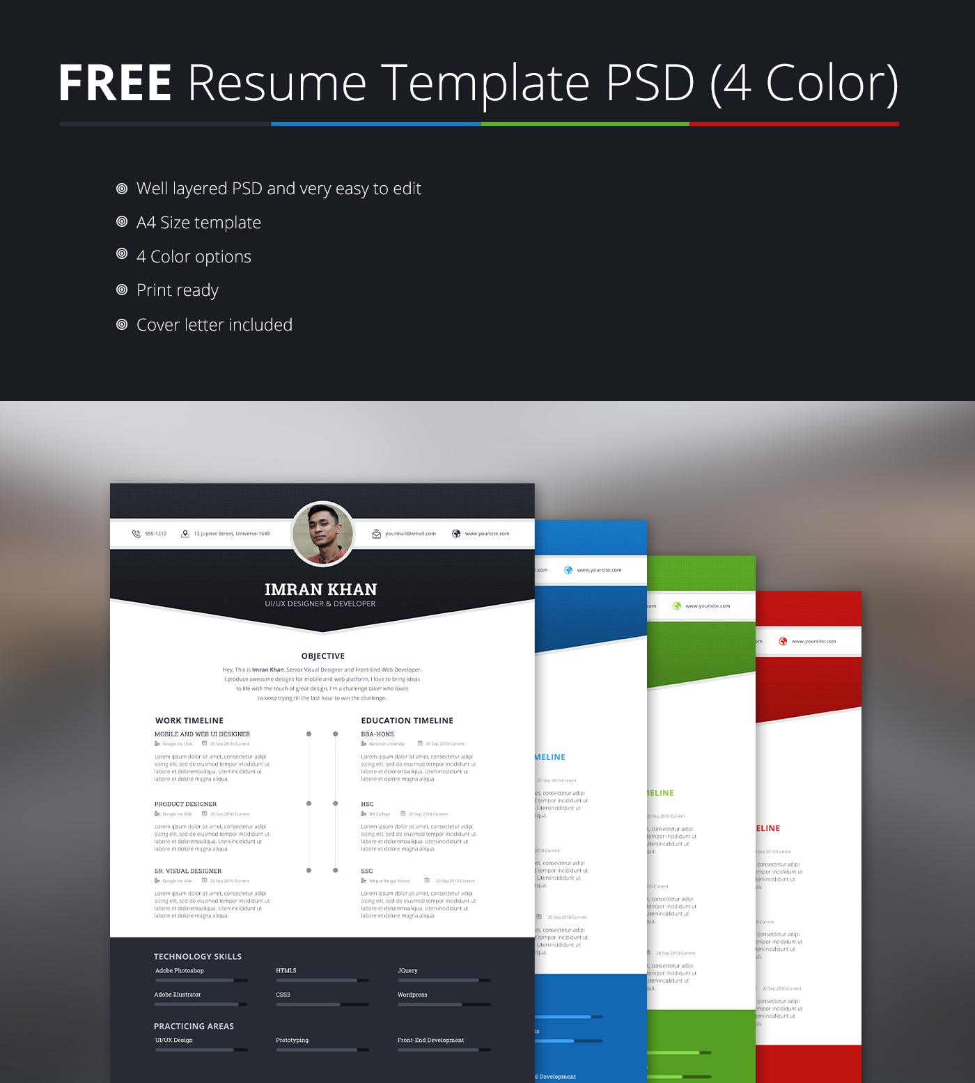 Free Resume Download Template Free Resume Template Psd 4 Colors On Behance