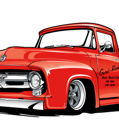 the final print is 3 spot colors on white t shirts this art features their lovingly restored 1953 ford truck that is mildly modified  [ 1465 x 907 Pixel ]