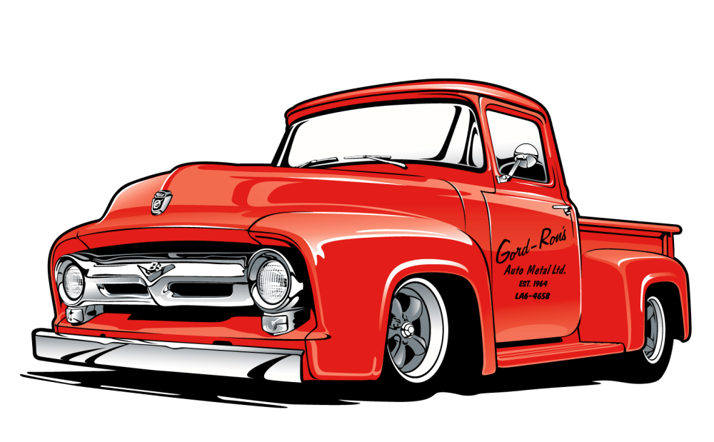 medium resolution of the final print is 3 spot colors on white t shirts this art features their lovingly restored 1953 ford truck that is mildly modified