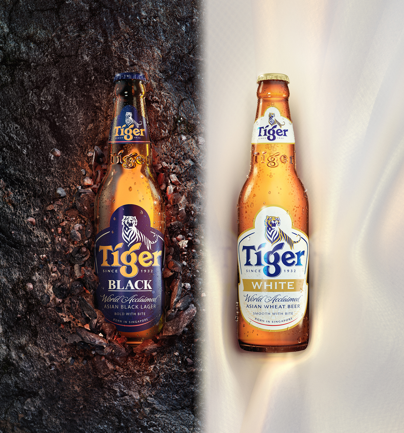 tiger black white on