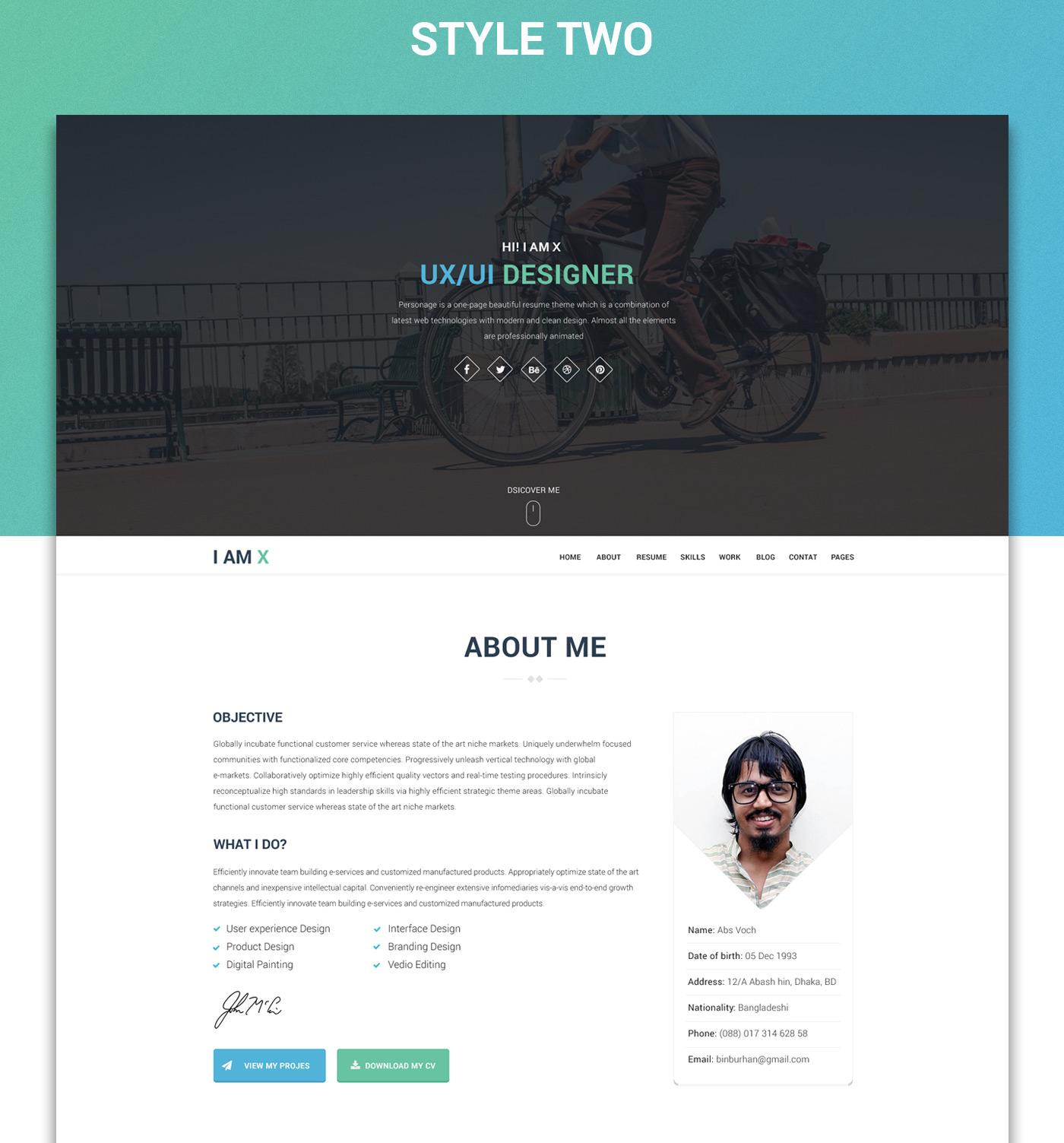 I Am X Freebie Web Resume Template Psd Html On Behance