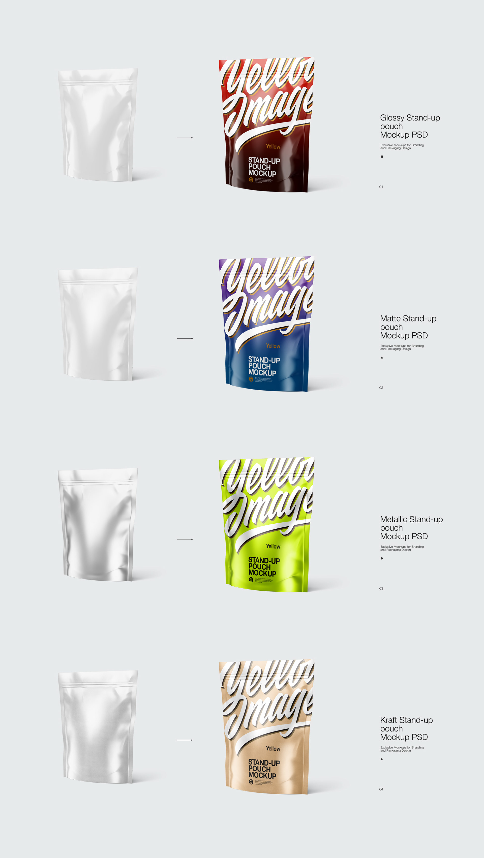 Standing Pouch Mockup : standing, pouch, mockup, Stand-up, Pouch, Mockup, Behance