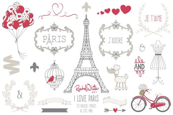 love paris clip art set behance