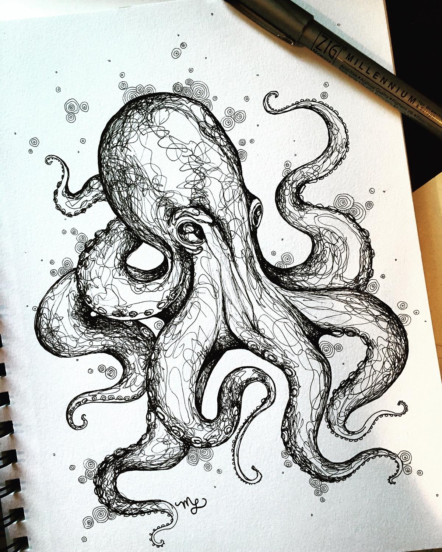 Realistic Octopus Drawing : realistic, octopus, drawing, Octopus, Sketch, Behance