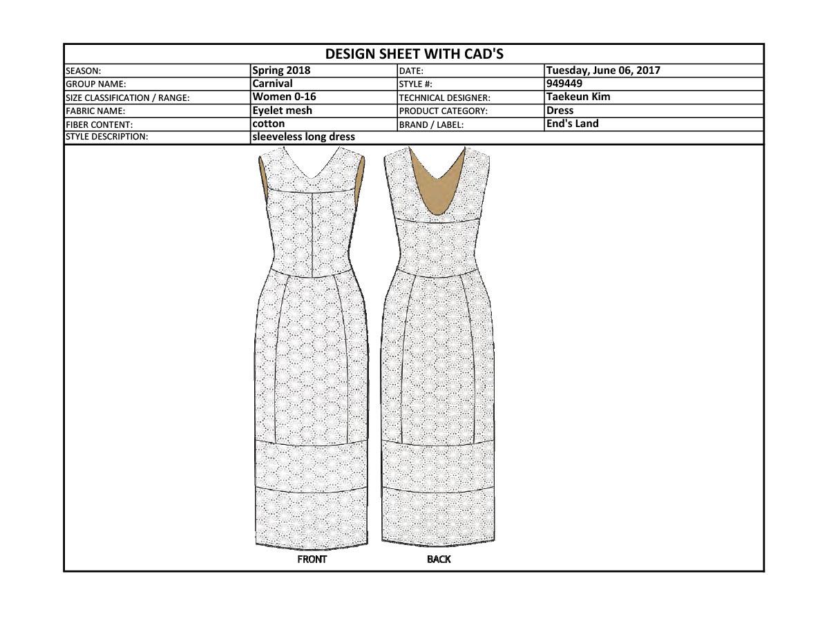 Tech Pack for dress on FIDM Portfolio Gallery