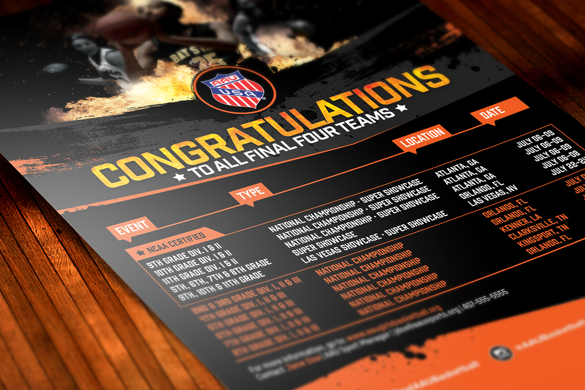 "Aau Girls Basketball ""congratulations Ff"" Flyer Design"