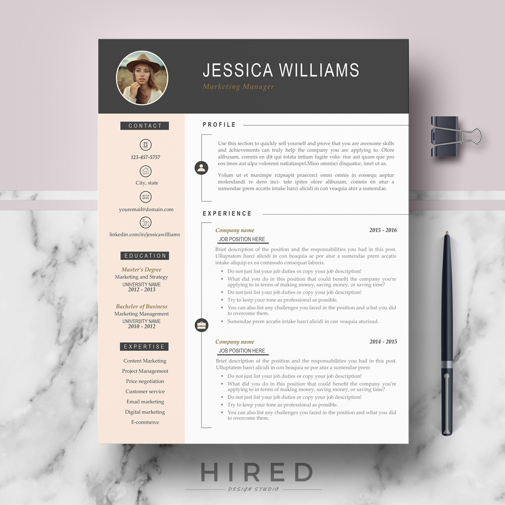 Modern Resume Template Download Professional Modern Resume Template Jessica On Behance