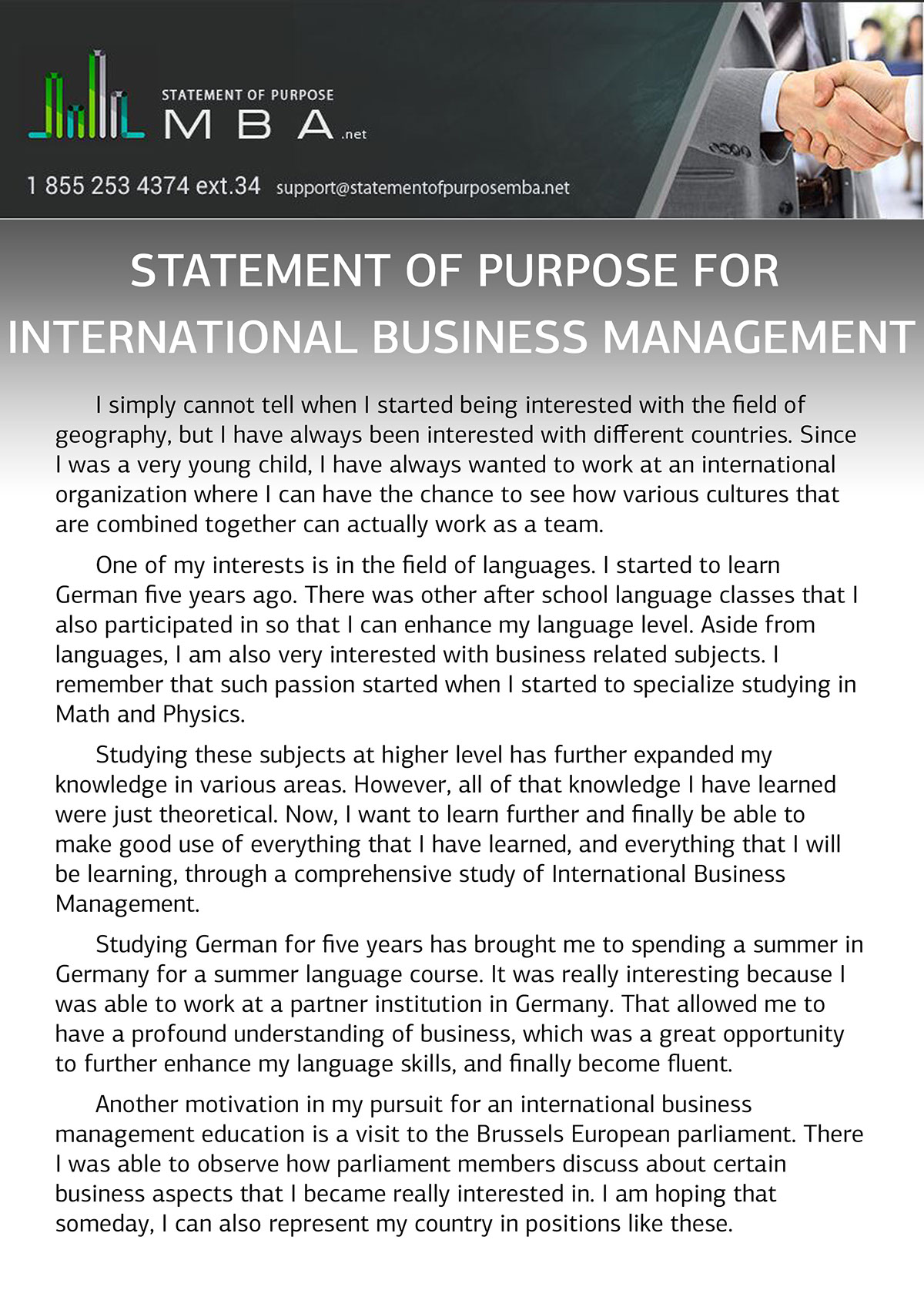 Example SoP For International Business Management On Behance