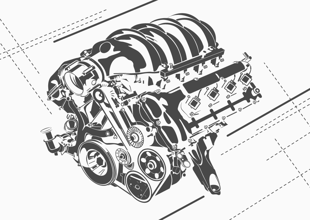 vector high detailed car engines on Behance