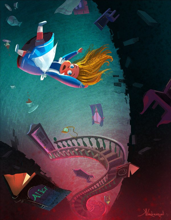 Through the Rabbit Hole Alice in Wonderland Art