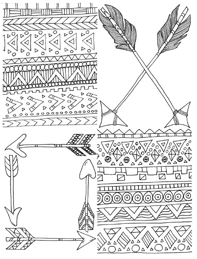 card cover coloring page : arrows / tribal on Behance