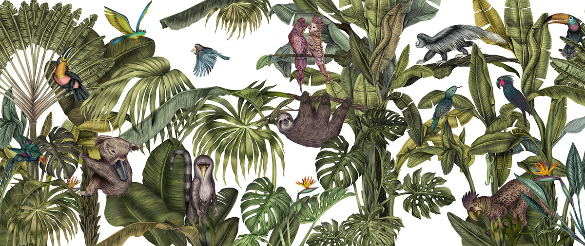 Magical Jungle for the tiles of Casa Cook Hotel on Behance