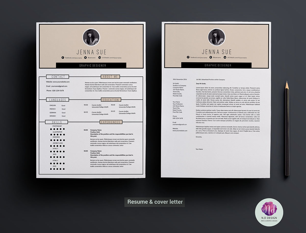 Multiple Page Resume Examples Modern 2 Page Resume Template On Behance