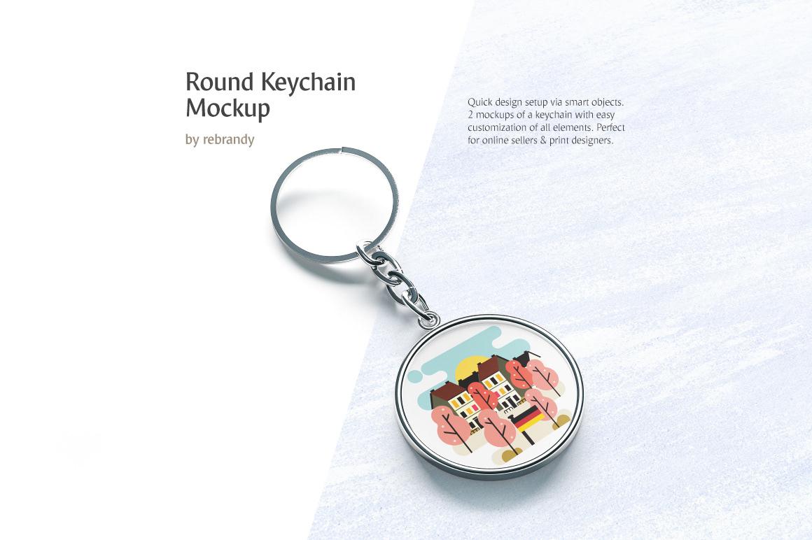 Round Keychain Mockup on Behance