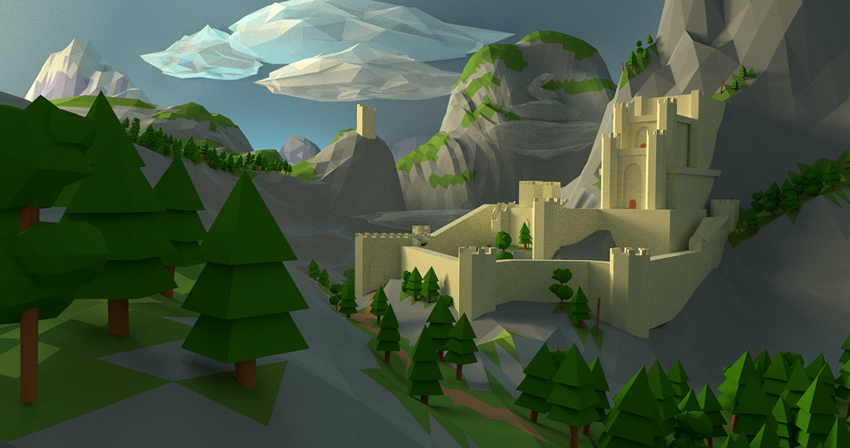 The Witcher 3 3d Wallpaper Low Poly Kaer Morhen On Behance