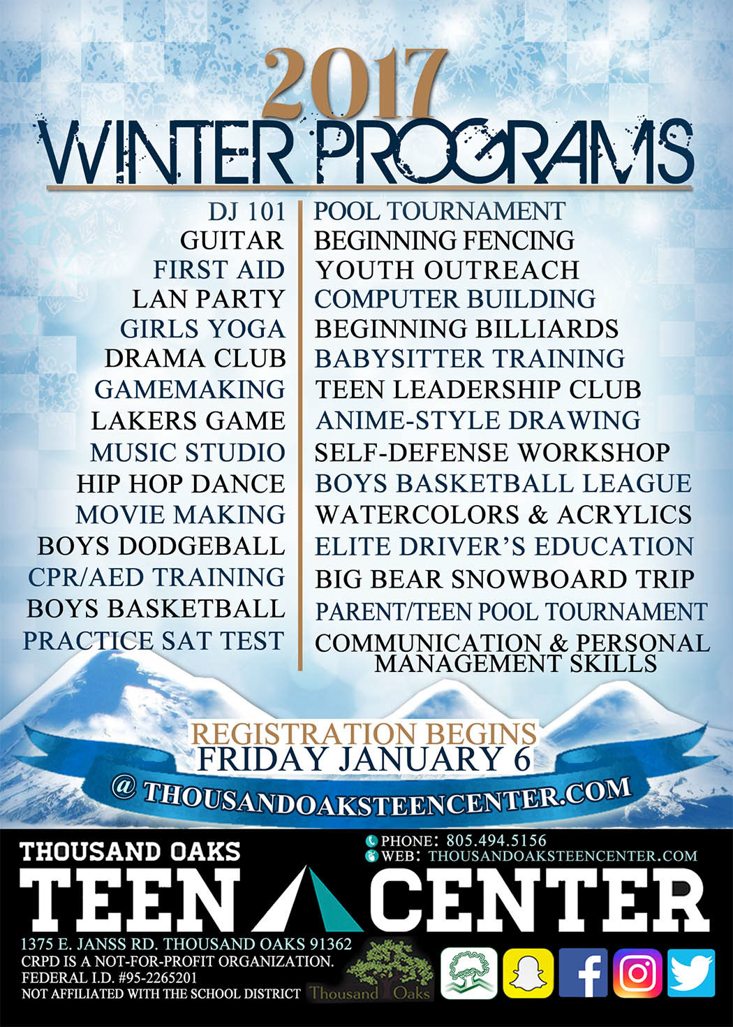 This Is A Flyer Design That I Created For The Thousand Oaks Teen Center,  Promoting Their 2017 Winter Programs.