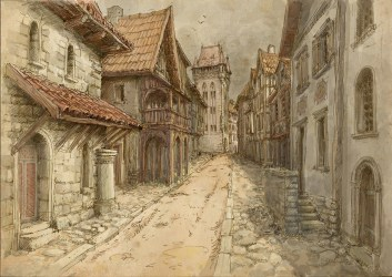 Medieval town on Behance