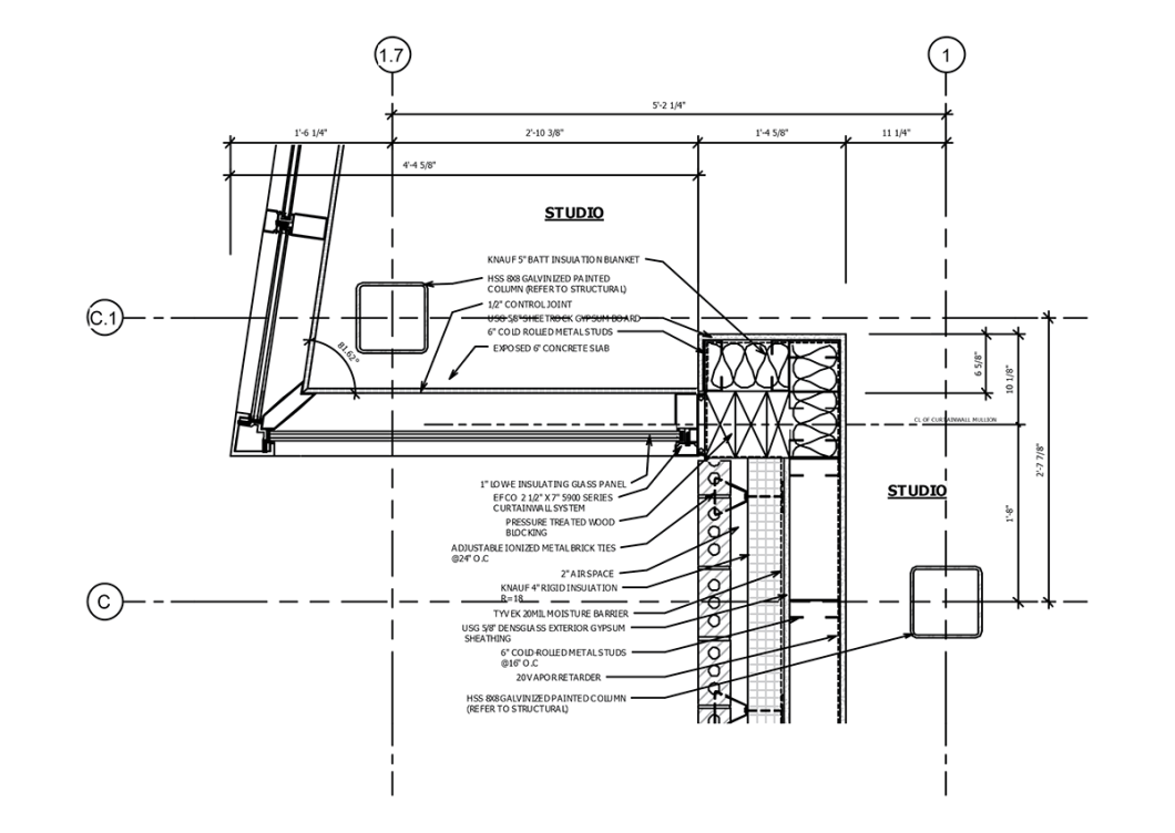 Plan Detail Curtainwall Corner