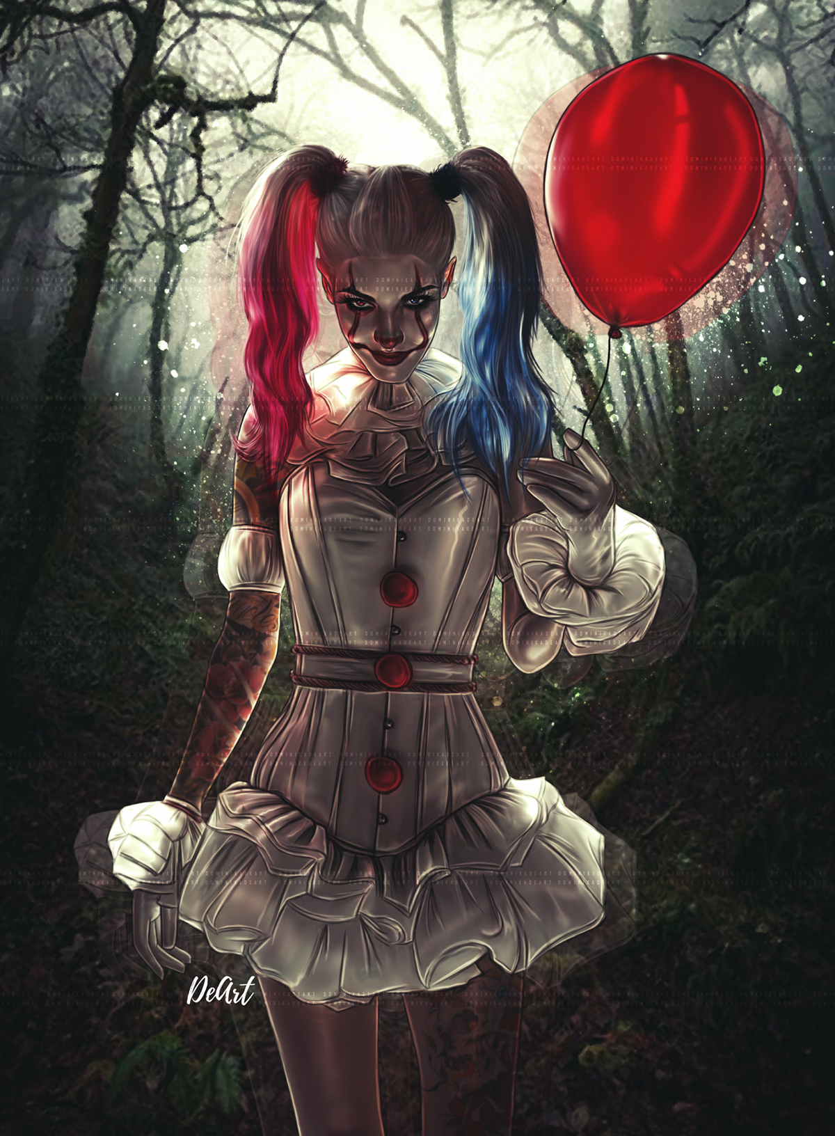 Anime Girl Drawing Wacom Wallpaper Digital Arts Pennywise Harley Quinn On Behance