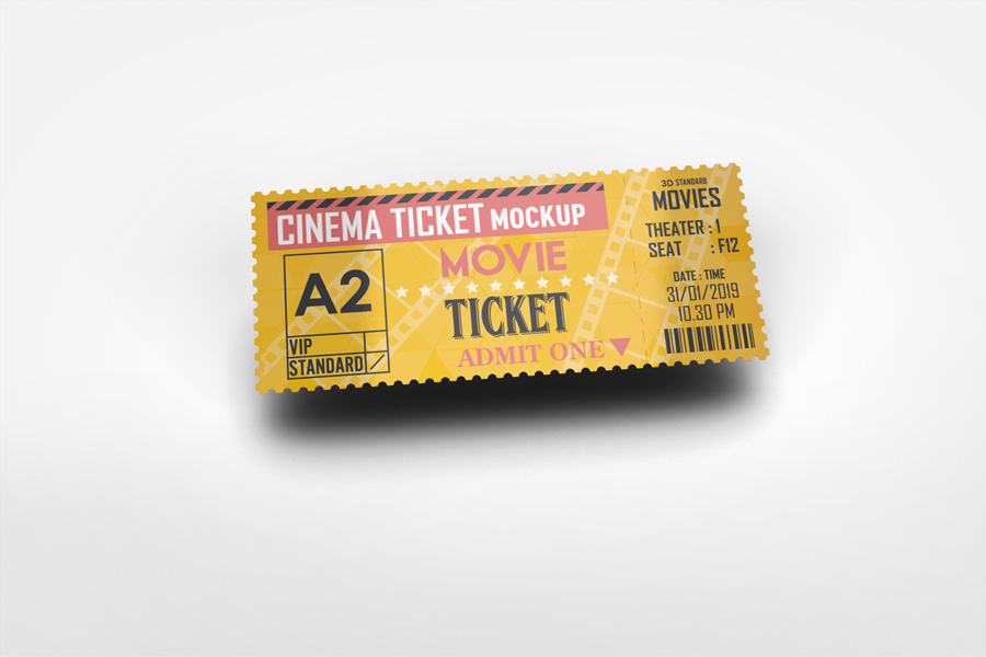 cinema ticket mockup on
