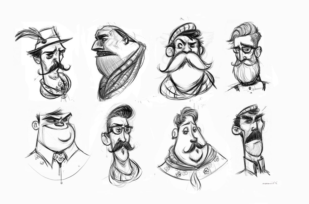 Character development sketches on Behance