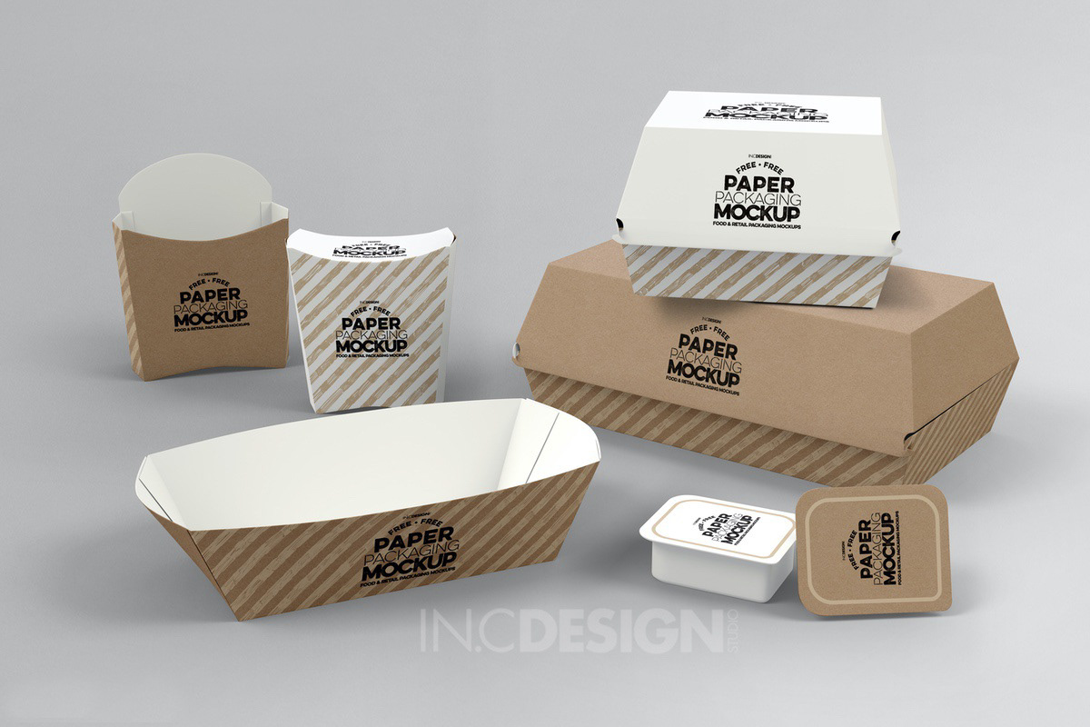 This is a free mockup template for display your french fries packing design realistically on this french fries box. Free Paper Takeout Boxes Mockup On Behance
