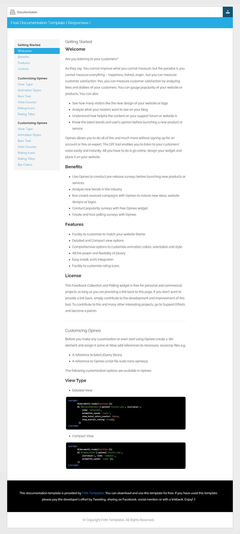 Free Documentation HTML Template