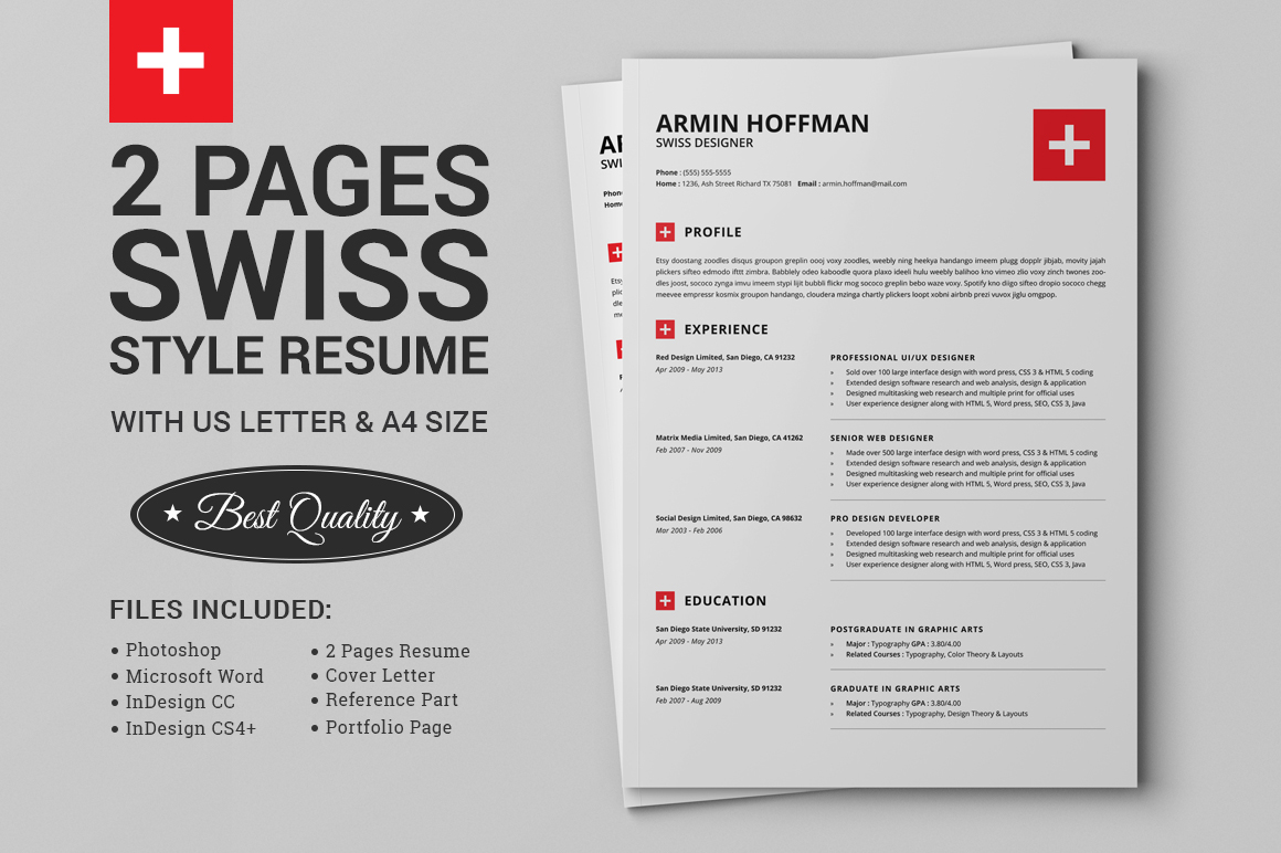 Two Page Resume Header 2 Pages Swiss Resume Extended Pack On Behance