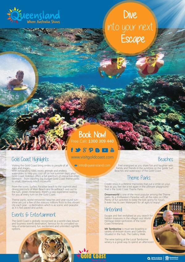 "A3 Poster & Dl Trifold Brochure -""tourism Qld"" Behance"
