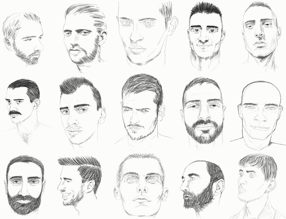 Examples of sketches of male faces on Pratt Portfolios
