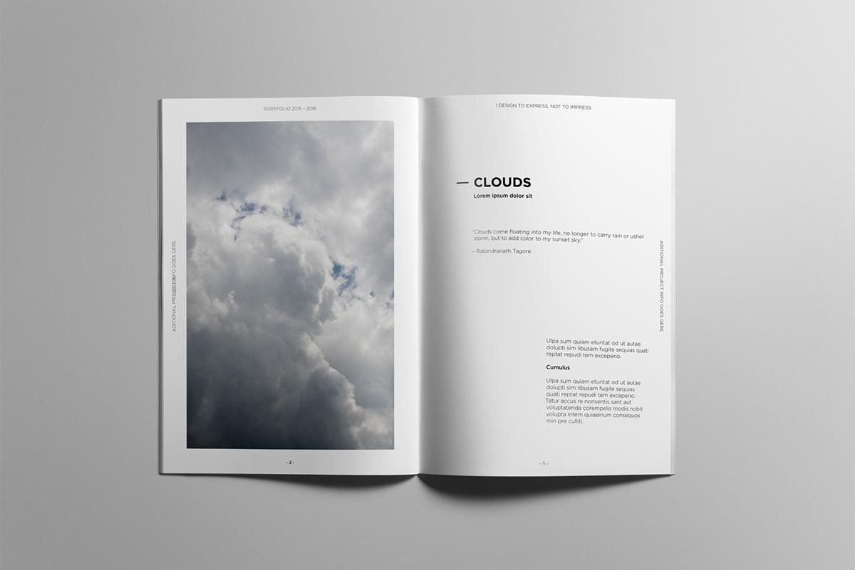 minimalist portfolio book on