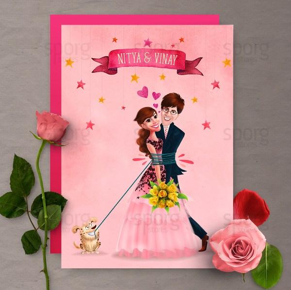 Caricature Illustrated Wedding Invitation Design. Behance