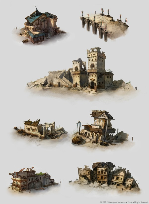Destroyed City Buildings Drawing