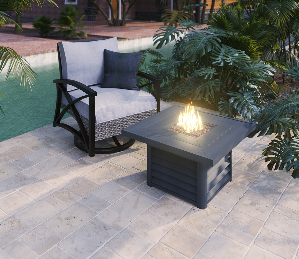 outdoor furniture with fireplace deer
