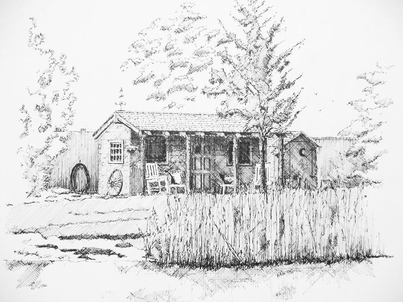 LINE DRAWINGS: Buildings with landscapes: a specialty on