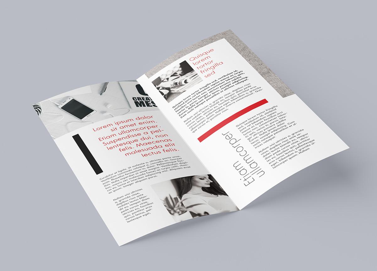 Free DL bi-fold leaflet mockup on Behance