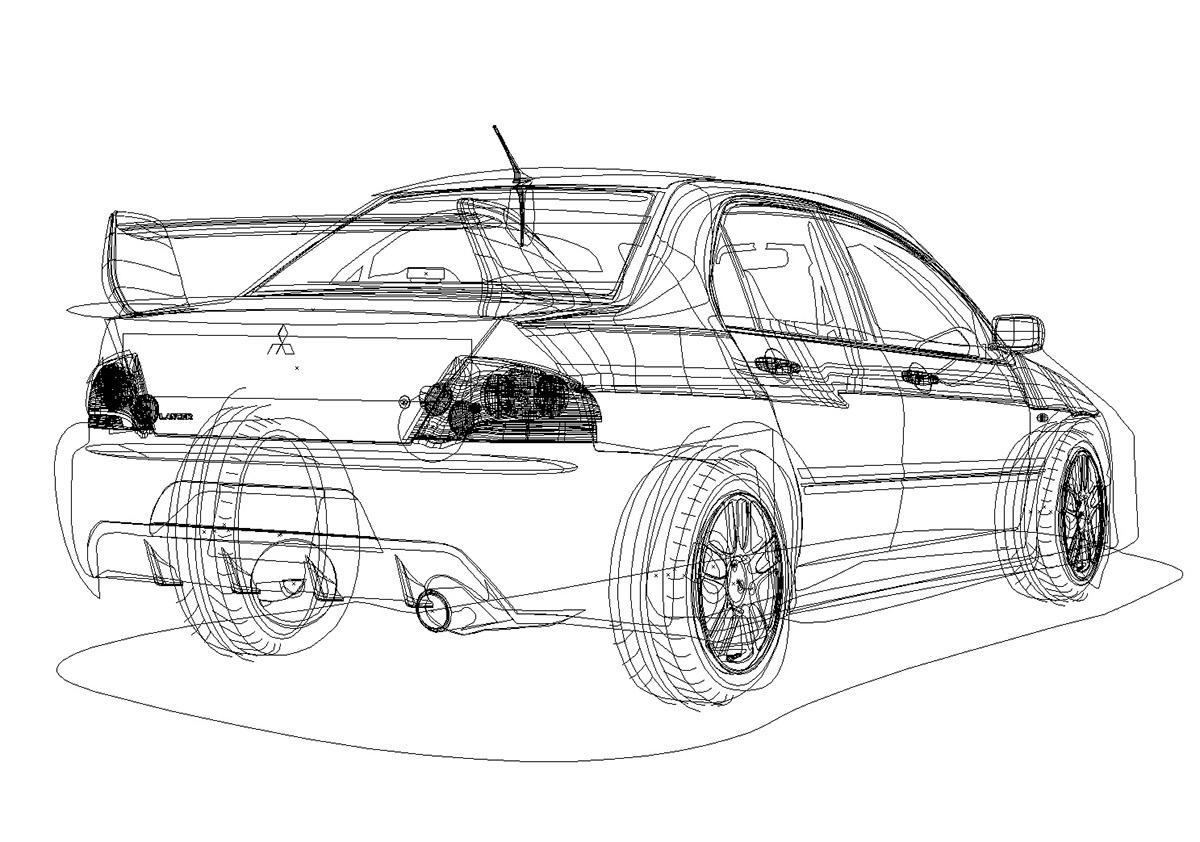 Mitsubishi Evo Lancer Vector on Behance