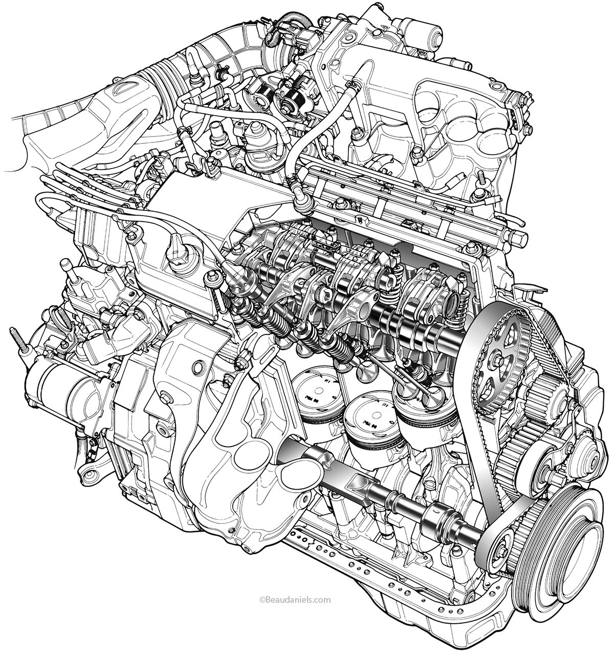 hight resolution of line art of a generic car engine six cylinder