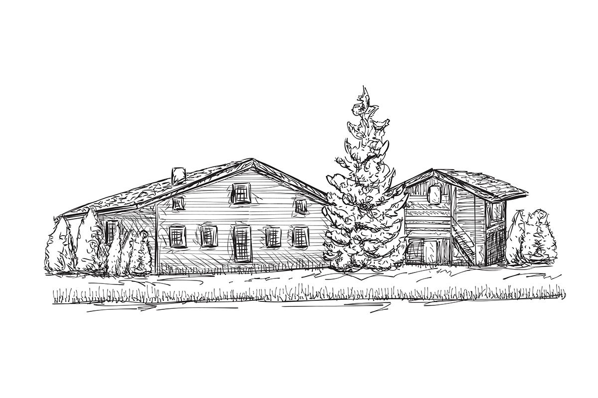 Village landscape. Houses sketch. on Behance