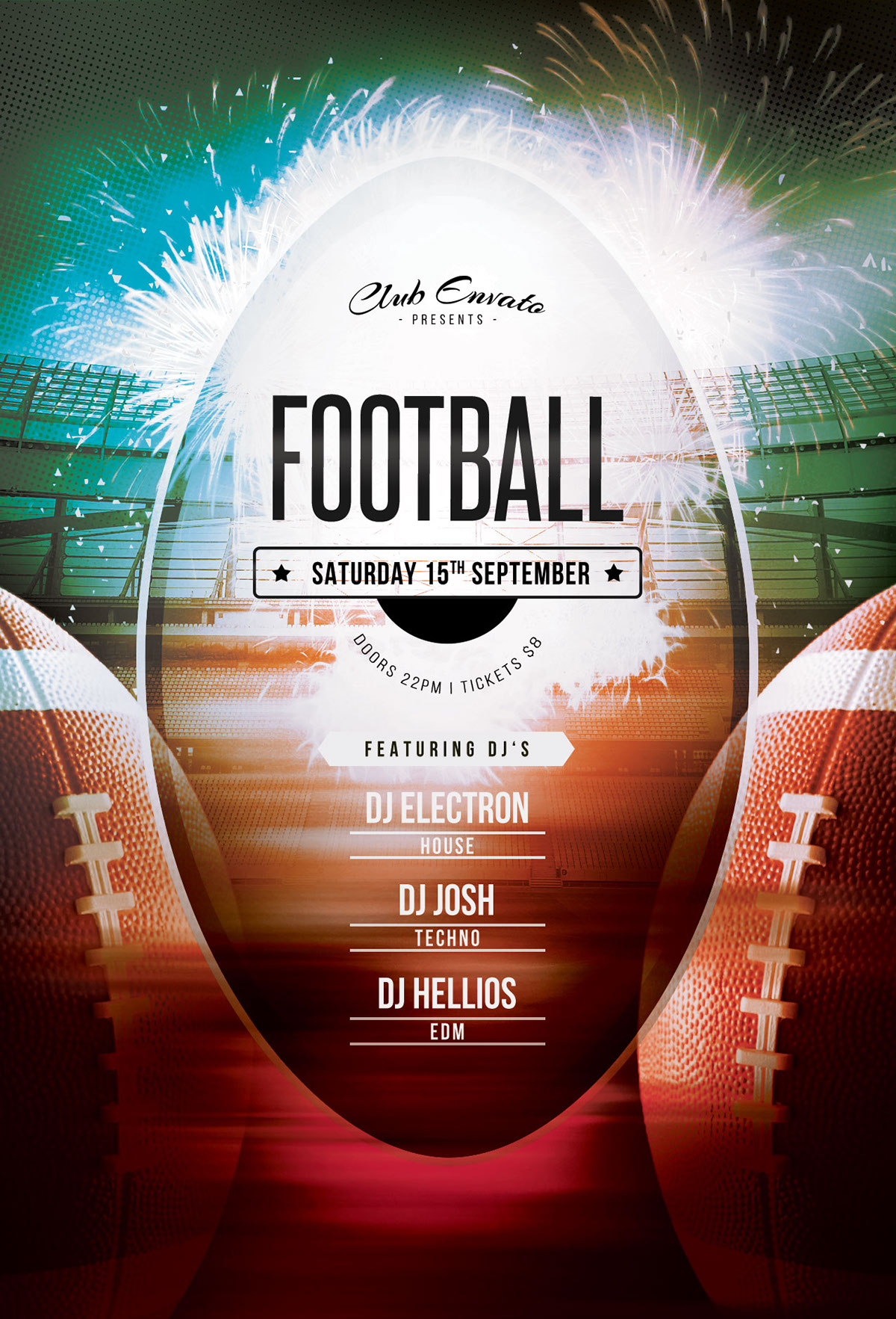 This Psd Flyer Template Is Designed To Promote A Football Event.