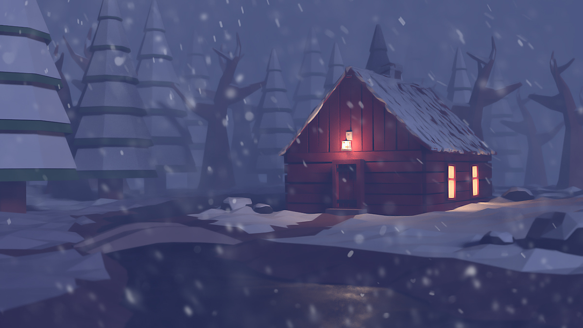 Falling Water House Wallpaper Low Poly Cabin In The Woods On Behance