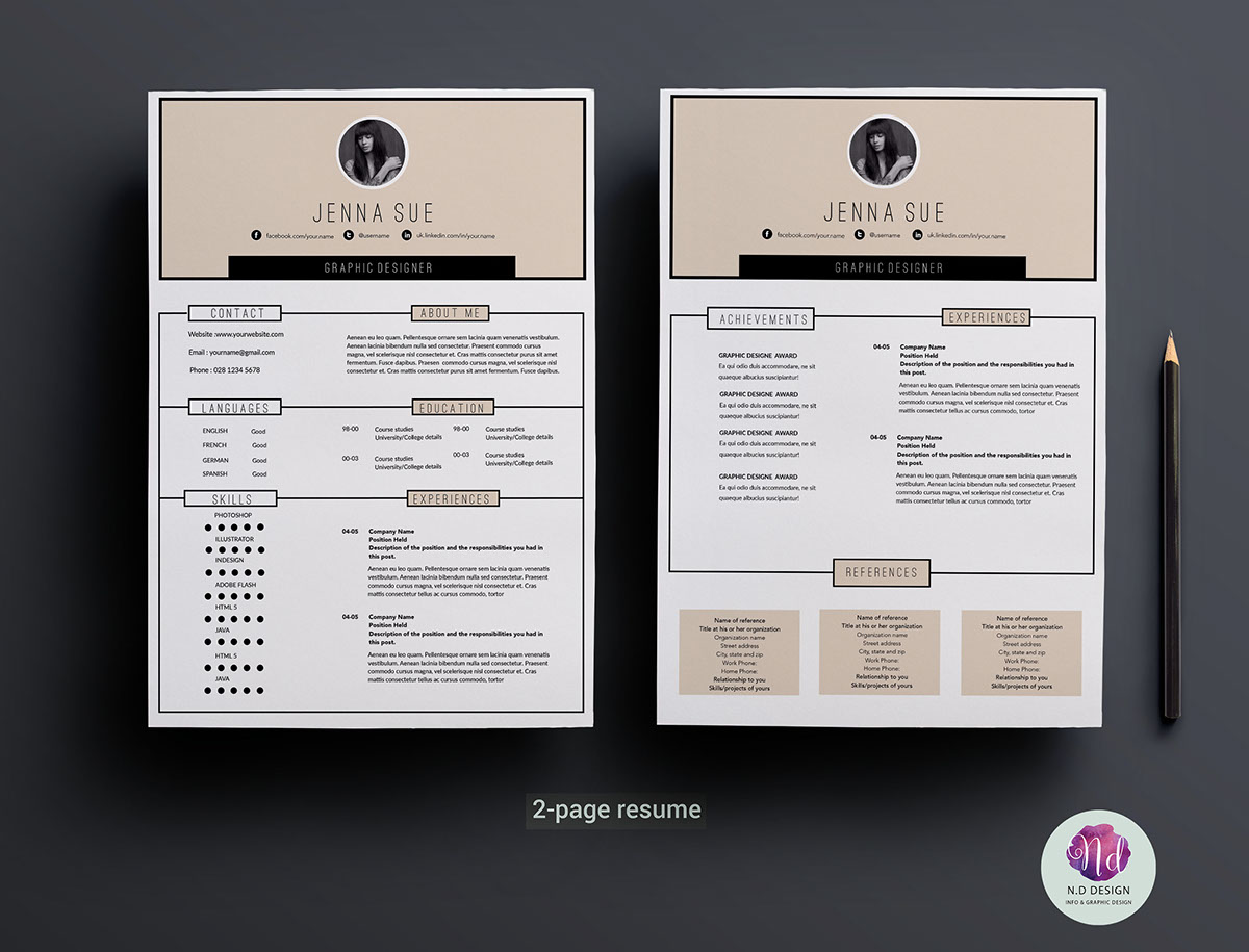 Modern 2 Page Resume Template On Behance