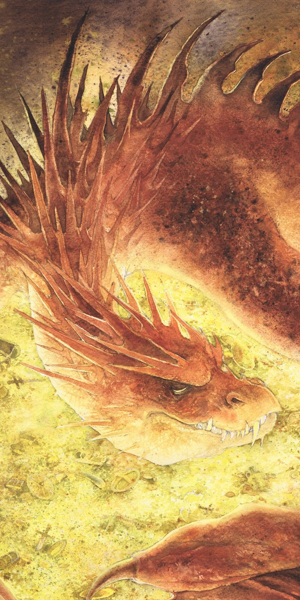 Sleeping Smaug - Commissioned Watercolor Illustration